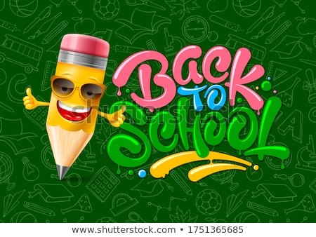 back to school sale poster and banner with colorful pencils and elements for retail marketing promo stock photo © ikopylov