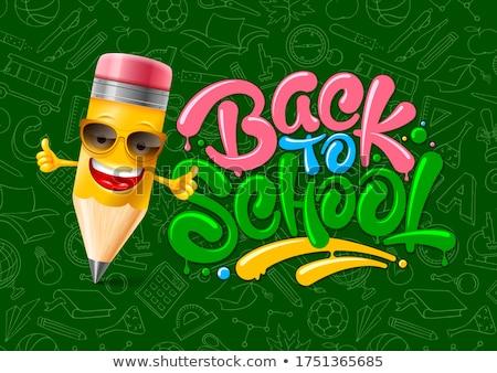 Terug naar school verkoop poster banner kleurrijk potloden Stockfoto © ikopylov