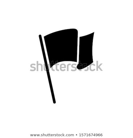 Zászló négyszögletes forma ikon fehér kövér Stock fotó © Ecelop