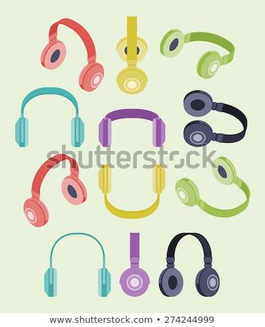Foto stock: Color · diferente · auriculares · establecer · vector · moderna