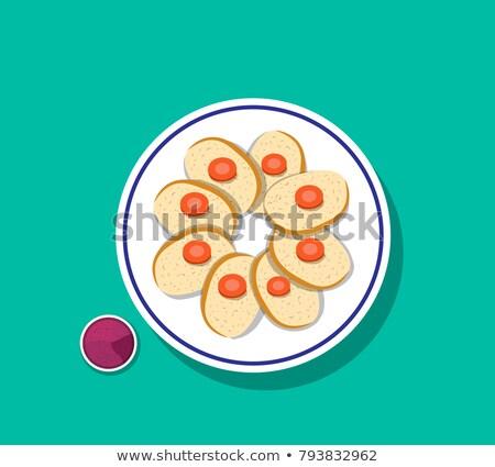 Gıda Yahudilerin hamursuz bayramı balık örnek hizmet plaka Stok fotoğraf © lenm