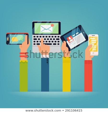 Személy online okostelefon tabletta vektor nő Stock fotó © robuart