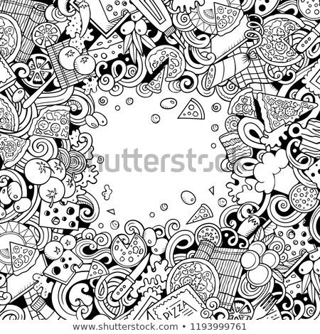 Karikatur · Kritzeleien · Pizza · Rahmen · Kontur · Zeichnung - stock foto © balabolka
