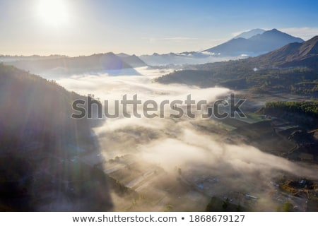 beautiful batur volcano view from drone panorama stock photo © galitskaya