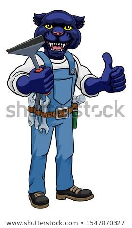 ヒョウ 車 ウィンドウクリーナー 漫画のマスコット ツール ストックフォト © Krisdog
