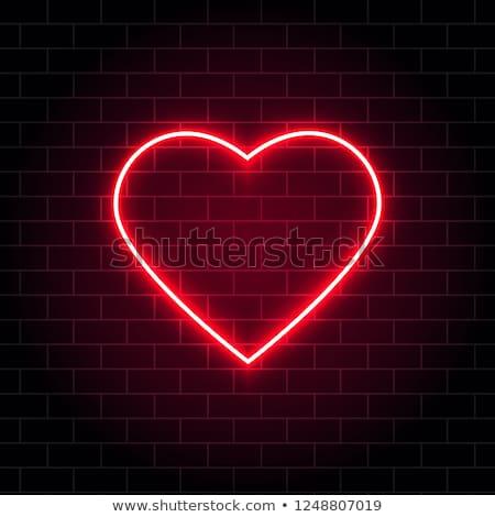 Vermelho romântico néon coração rápido fácil Foto stock © Voysla