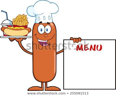 Gelukkig chef worst hot dog Stockfoto © hittoon