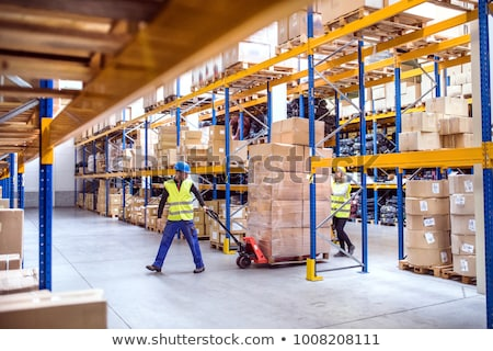Stockfoto: Mensen · werken · magazijn · twee · mensen · online