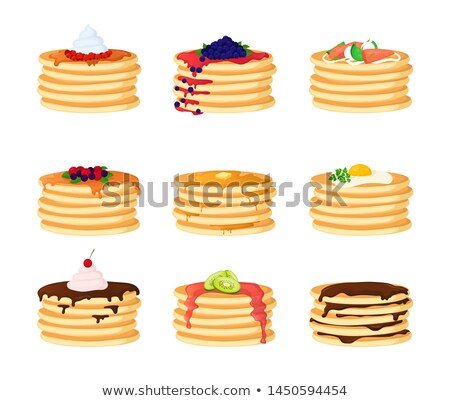 vector pile of pancakes with berries stock photo © freesoulproduction