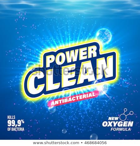 Güç temizlemek çamaşırhane deterjan paketleme afiş Stok fotoğraf © SArts