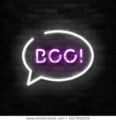 happy halloween party neon sign in a lamp frame stock photo © voysla