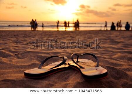 Tengerpart papucs trópusi homokos part ünnep Stock fotó © dariazu