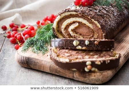 Karácsony torta hagyományos csokoládé desszert ünnepi Stock fotó © furmanphoto