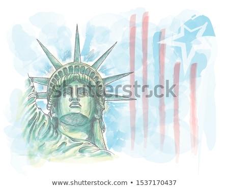Suluboya kroki heykel özgürlük yüz bayrak Stok fotoğraf © doomko