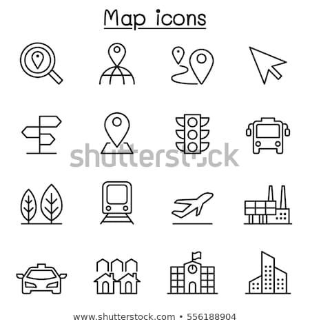 Taksówką cel ikona wektora cienki line Zdjęcia stock © pikepicture
