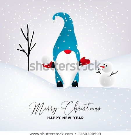 beautiful flat design christmas card with snowman and gnome stock photo © balasoiu