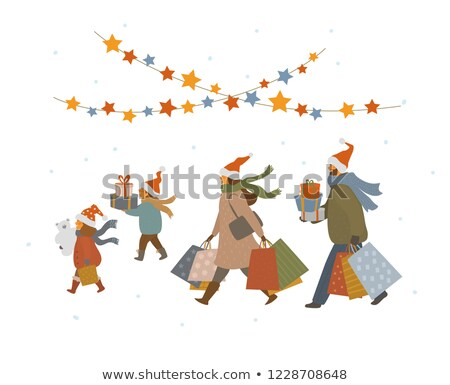 Christmas winkelen man pijnboom familie eengezinswoning Stockfoto © robuart