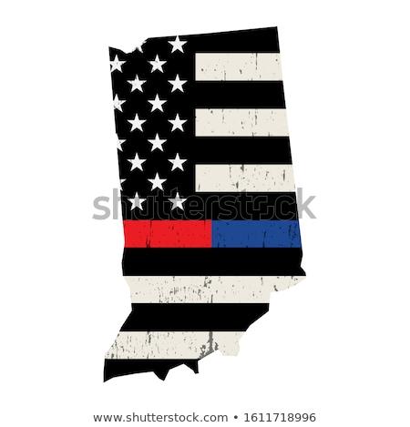 Indiana policji strażak wsparcia banderą amerykańską flagę Zdjęcia stock © enterlinedesign