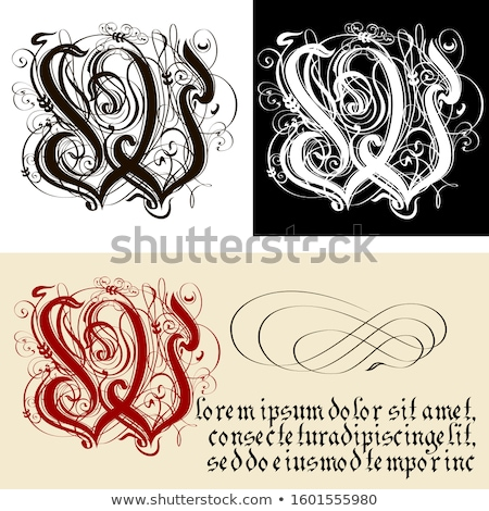 Décoratif gothique lettre w calligraphie vecteur eps8 Photo stock © mechanik