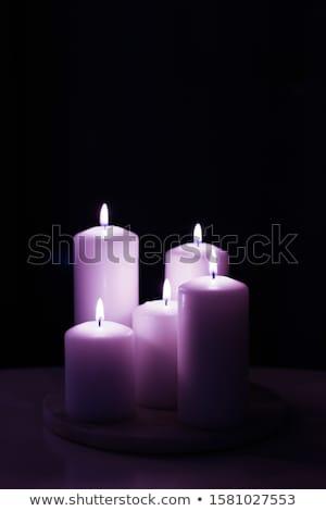 Aromático púrpura floral velas establecer noche Foto stock © Anneleven