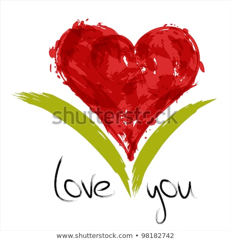 Romantic concept - I love you on green background Stock photo © barsrsind