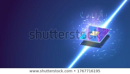 未来的な のCPU  プロセッサ マシン 学習 3次元の図 ストックフォト © solarseven