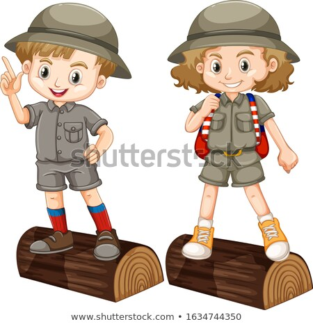 Boy and girl in safari costume on wooden log Stock photo © bluering