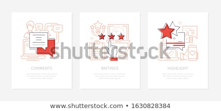 SMM strategy - vector line design style banners set Stock photo © Decorwithme
