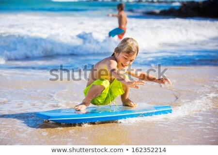 Mutlu plaj tatil tahta Stok fotoğraf © galitskaya