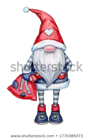 Old Elf on Christmas and New Year Greeting Card Stock photo © robuart