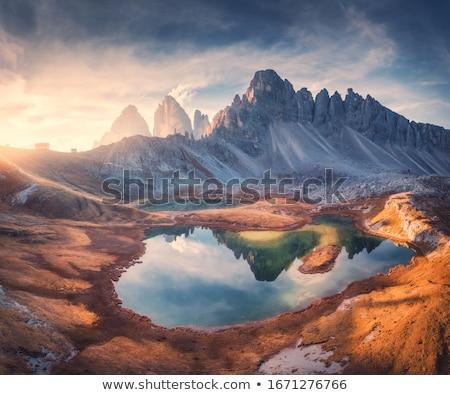 Lac alpes panoramique vue faible ciel Photo stock © MichaelVorobiev