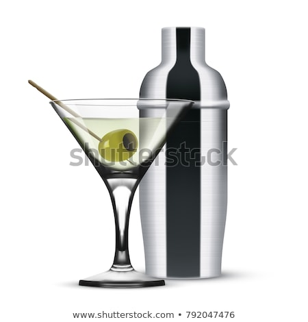 Vodka martini gin cocktail in modern glass with olives in metal  Stock photo © DenisMArt