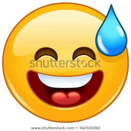 笑みを浮かべて 顔文字 オープン 口 冷たい 汗 ストックフォト © yayayoyo