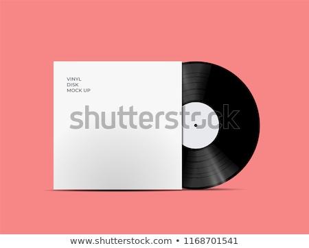 Vintage zwarte vinyl schijf sjabloon witte Stockfoto © evgeny89