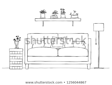 Interior in sketch style. Sofa, bedside table, floor lamp and shelf with plants. Vector. Stock photo © Arkadivna
