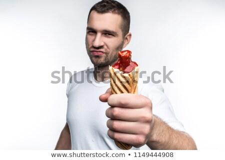 男 · ケチャップ · ホットドッグ · 食品 · パーティ - ストックフォト © damonace