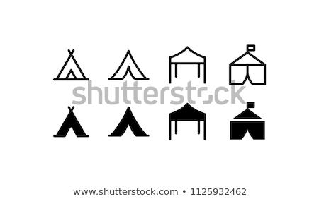 Namiot turystycznych Świt trawy charakter krajobraz Zdjęcia stock © joyr