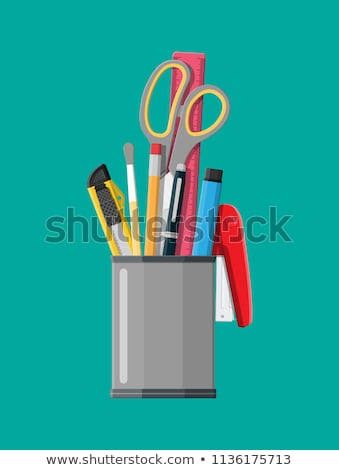 Pens and pencils in pencil holder Stock photo © elenaphoto