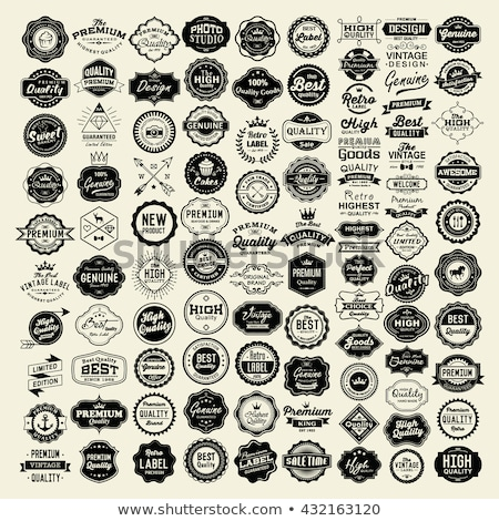 prima · calidad · garantizar · insignias · retro · vintage - foto stock © mikemcd