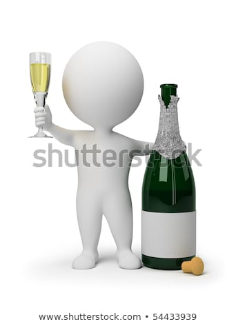 Stock photo: 3d small people - champagne