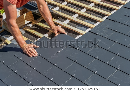 Dak bouw home steen architectuur patroon Stockfoto © njaj