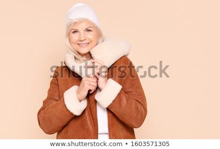 Stok fotoğraf: Güzel · bir · kadın · kış · kapak · beyaz · gülümseme