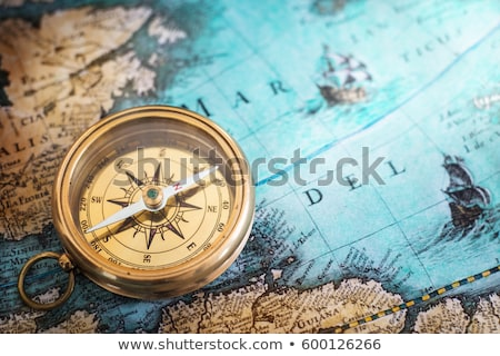 antique compass  and old map stock photo © oersin