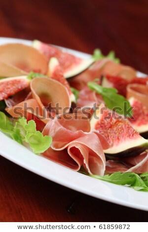 Serrano ham vruchten vork gezonde rijp Stockfoto © joker
