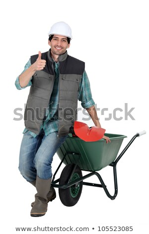 bricklayer with wheelbarrow and trowel thumb up Stock photo © photography33