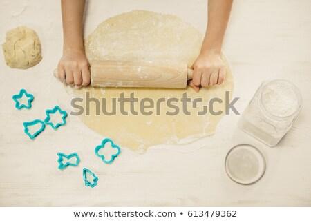kobieta · wałkiem · uśmiechnięta · kobieta · żywności · kuchnia - zdjęcia stock © rob_stark