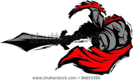 Сток-фото: Spartan Trojan Silhouette Mascot Stabbing With Sword And Shield