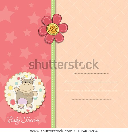 childish baby announcement card with hippo toy Stock photo © balasoiu