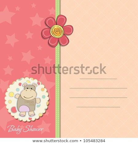 Kinderachtig baby aankondiging kaart nijlpaard speelgoed Stockfoto © balasoiu