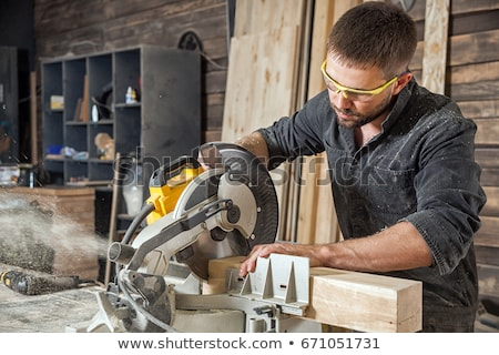 brunette carpenter with saw stock photo © photography33